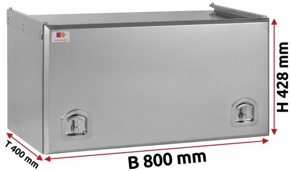 Edelstahl Staukasten matt mit Schubdeckel 800x400x400 mm