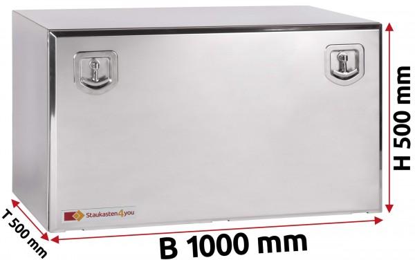 LKW Staukasten 1000x500x500mm aus Edelstahl hochglanzpoliert