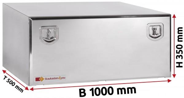LKW Staukasten 1000x350x500mm aus Edelstahl hochglanzpoliert