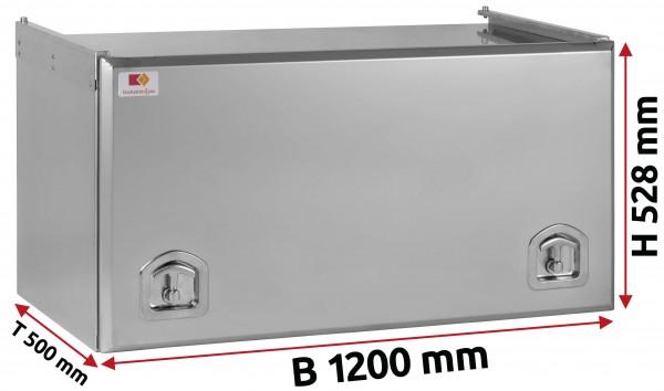 Edelstahl Staukasten matt mit Schubdeckel 1200x500x500 mm