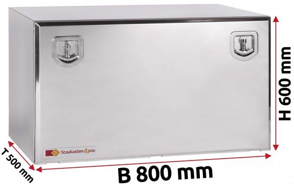 LKW Staukasten 800x600x500mm aus Edelstahl hochglanzpoliert