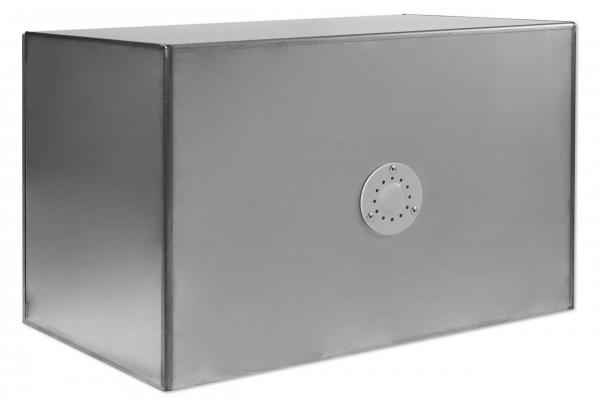 Edelstahlstaukasten matt mit poliertem Deckel - B 700 x H 500 x T 500 mm