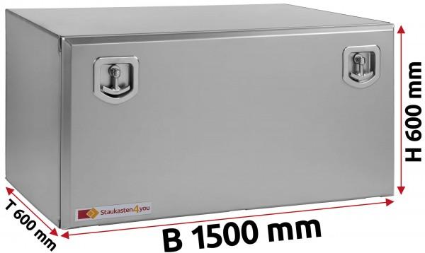 LKW Staukasten 1500x600x600mm aus Edelstahl matt