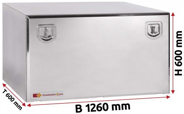 LKW Staukasten 1260x600x600mm aus Edelstahl hochglanzpoliert