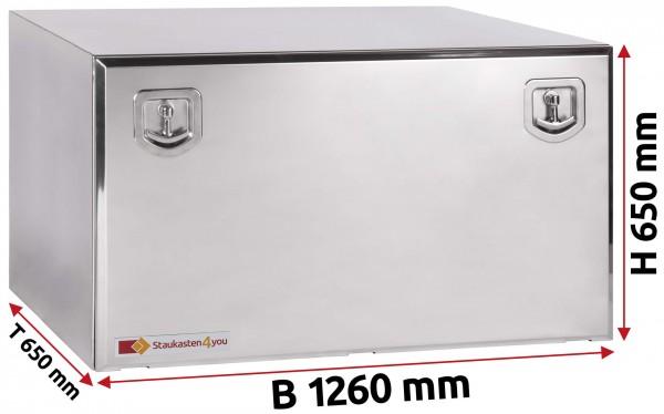 LKW Staukasten 1260x650x650mm aus Edelstahl hochglanzpoliert