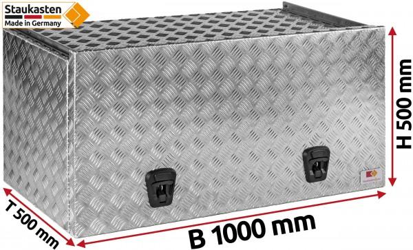 Staukasten aus Aluminium Riffelblech mit Schubdeckel 1000x500x500mm