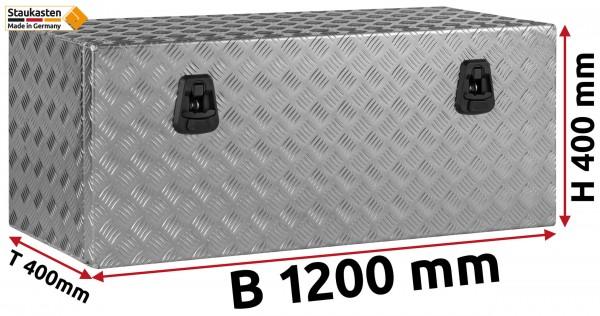 Staukasten Unterflurbox 1200x400x400mm Alu Riffelblech