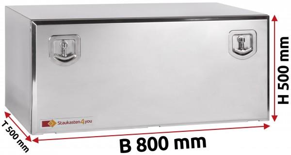LKW Staukasten 800x500x500mm aus Edelstahl hochglanzpoliert