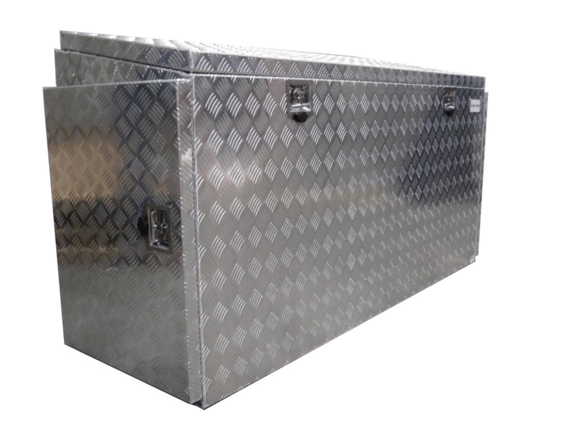 pritschenbox transportbox werkzeugbox mit t ren alu b 1900 x t 600 x h 1000 mm aluminium. Black Bedroom Furniture Sets. Home Design Ideas