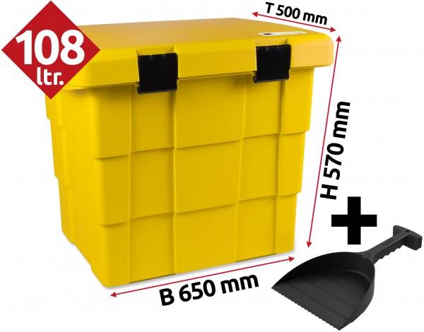 Daken Pit Box, Lagerbox, Streugutbox mit Schaufel - Gelb 108 Liter