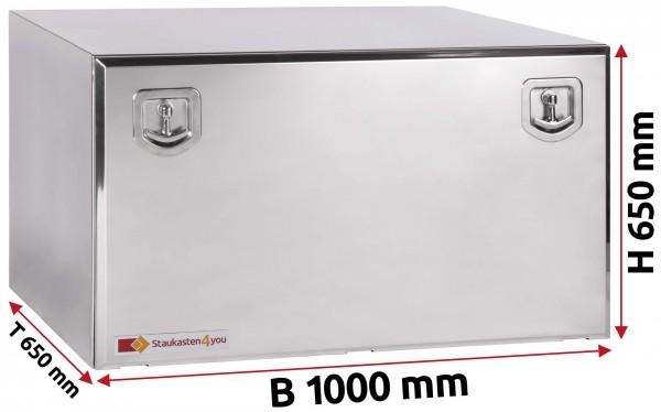 LKW Staukasten 1000x650x650mm aus Edelstahl hochglanzpoliert