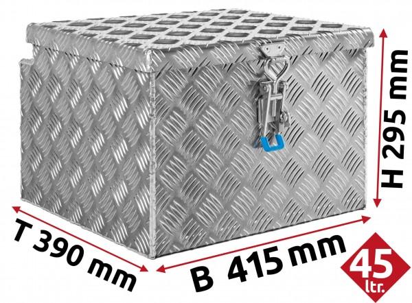 Deichselbox aus Aluminium Riffelblech 415x295x390 mm
