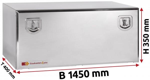 LKW Staukasten 1450x350x400mm aus Edelstahl hochglanzpoliert