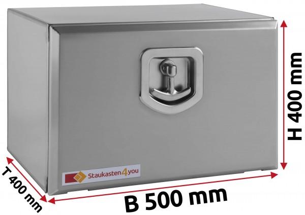 LKW Staukasten 500x400x400mm aus Edelstahl matt