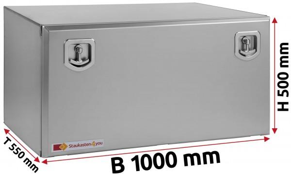 LKW Staukasten 1000x500x550mm aus Edelstahl matt