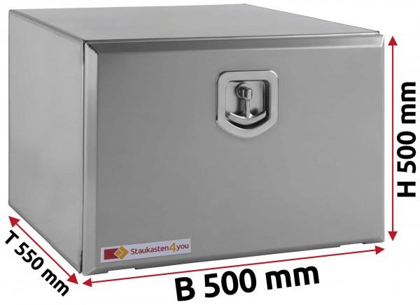 LKW Staukasten 500x500x550mm aus Edelstahl matt