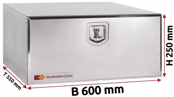 LKW Staukasten 600x250x550mm aus Edelstahl hochglanzpoliert
