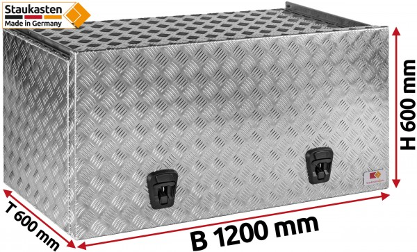 Staukasten aus Aluminium Riffelblech mit Schubdeckel 1200x600x600mm