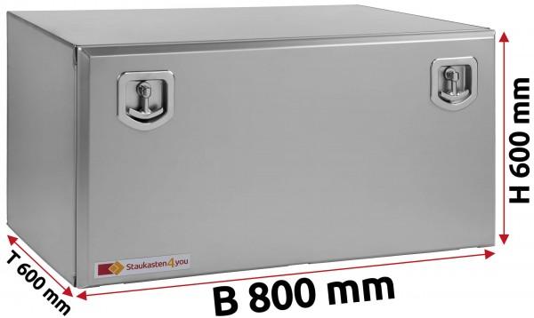 LKW Staukasten 800x600x600mm aus Edelstahl matt