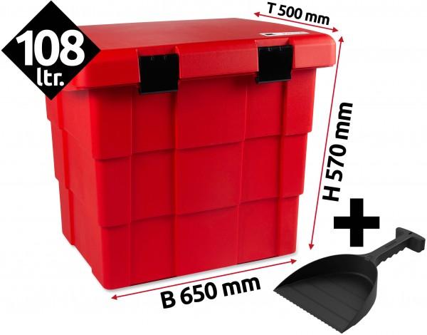 Daken Pit Box, Lagerbox, Streugutbox mit Schaufel - Rot 108 Liter