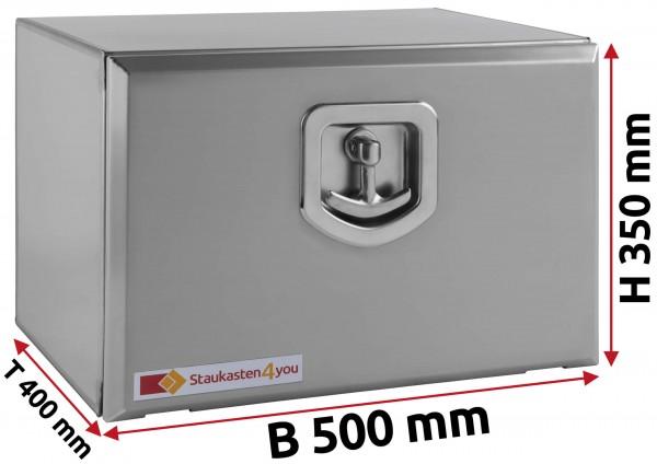 LKW Staukasten 500x350x400mm aus Edelstahl matt