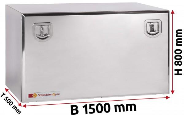 LKW Staukasten 1500x800x500mm aus Edelstahl hochglanzpoliert