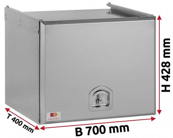 Edelstahl Staukasten matt mit Schubdeckel 700x400x400 mm