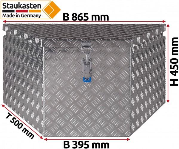 PKW Anhaenger Deichselbox Trapezkasten 865x450x500mm
