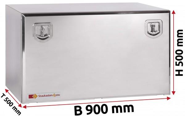 LKW Staukasten 900x500x500mm aus Edelstahl hochglanzpoliert