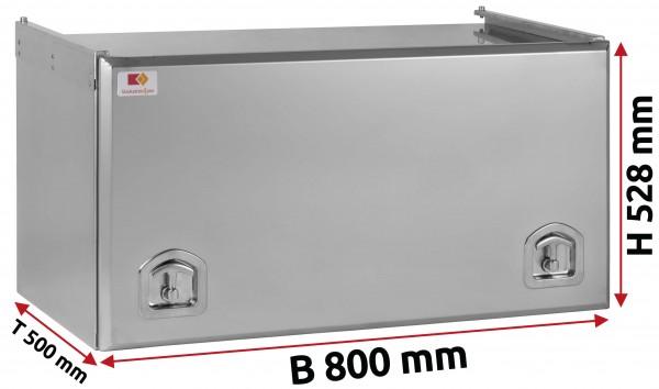 Edelstahl Staukasten matt mit Schubdeckel 800x500x500 mm