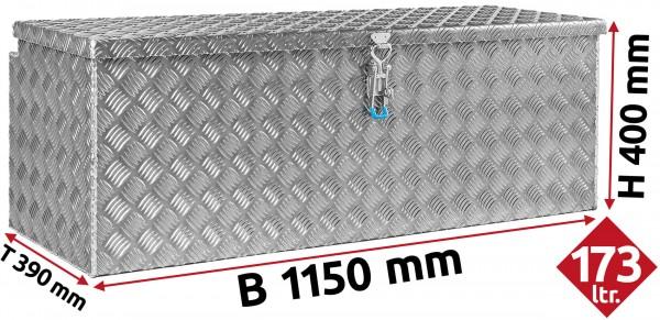 Deichselbox aus Aluminium Riffelblech 1150x400x390 mm