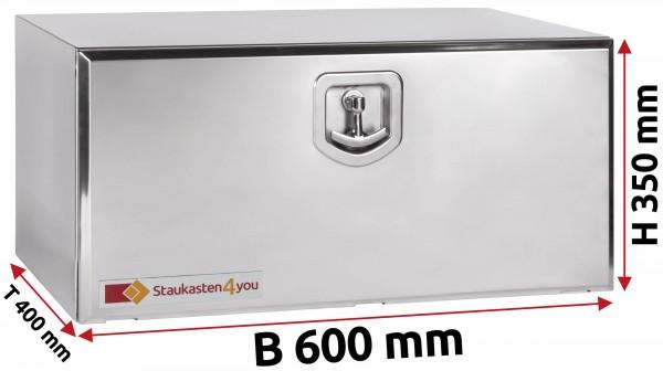 LKW Staukasten 600x350x400mm aus Edelstahl hochglanzpoliert