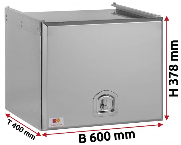 Edelstahl Staukasten matt mit Schubdeckel 600x350x400 mm