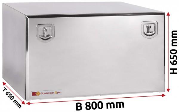 LKW Staukasten 800x650x650mm aus Edelstahl hochglanzpoliert