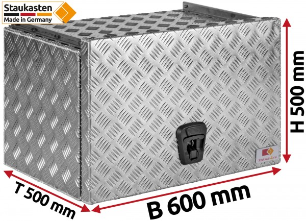 Staukasten aus Aluminium Riffelblech mit Schubdeckel 600x500x500mm