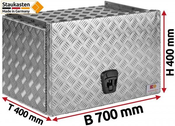 Staukasten aus Aluminium Riffelblech mit Schubdeckel 700x400x400mm